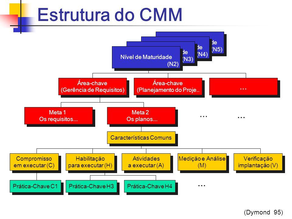 Estrutura do CMM Níveis de Maturidade (N5) Níveis de Maturidade (N5) Área-chave (Gerência de Requisitos) Área-chave (Gerência de Requisitos) Níveis de