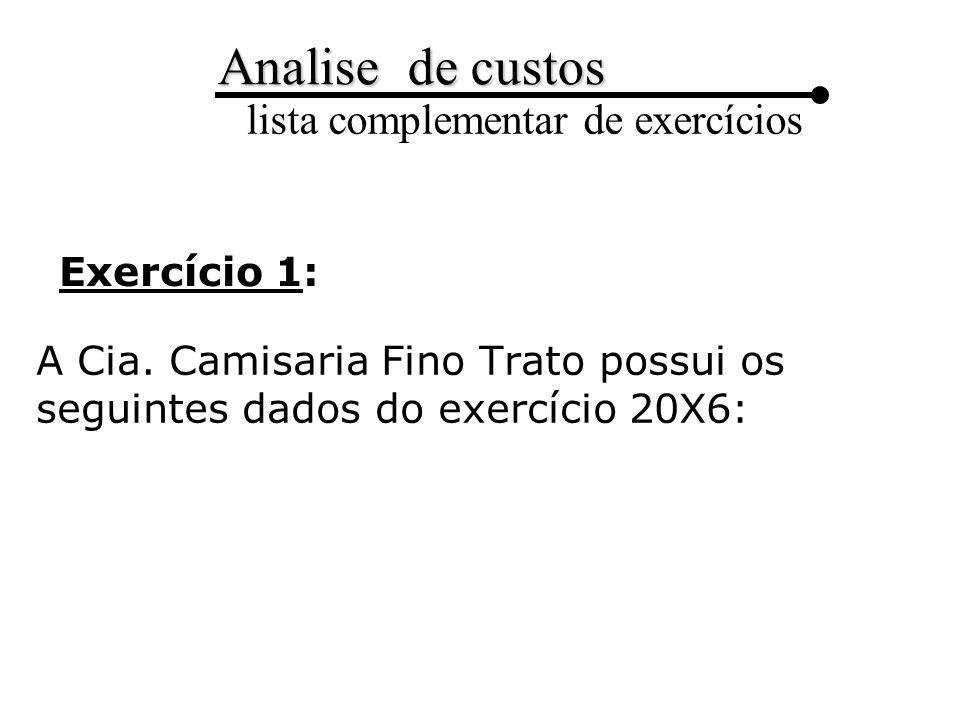 Analise de custos lista complementar de exercícios
