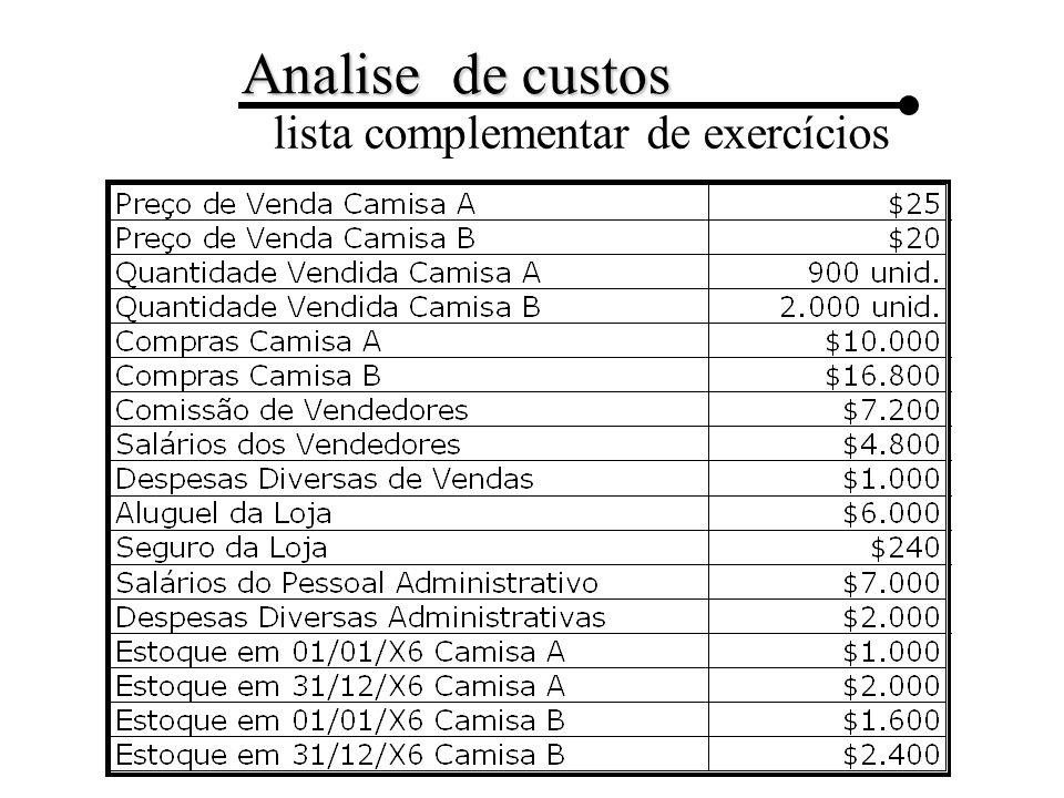 Analise de custos lista complementar de exercícios Exercício 1: Com base nos dados apresentados, calcular o Custo das Mercadorias Vendidas e com este, elaborar a Demonstração do Resultado do exercício de 20X6.