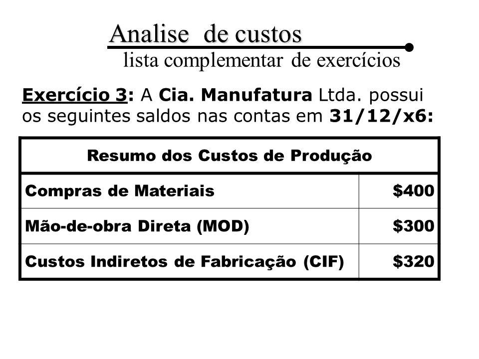 Analise de custos lista complementar de exercícios Exercício 3: A Cia.