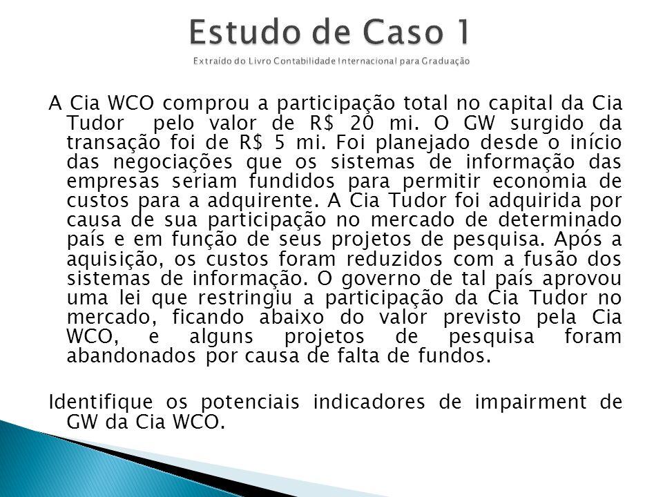 A Cia WCO comprou a participação total no capital da Cia Tudor pelo valor de R$ 20 mi. O GW surgido da transação foi de R$ 5 mi. Foi planejado desde o