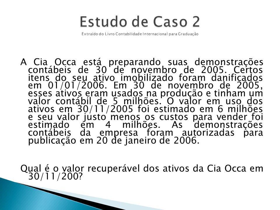 A Cia Occa está preparando suas demonstrações contábeis de 30 de novembro de 2005. Certos itens do seu ativo imobilizado foram danificados em 01/01/20