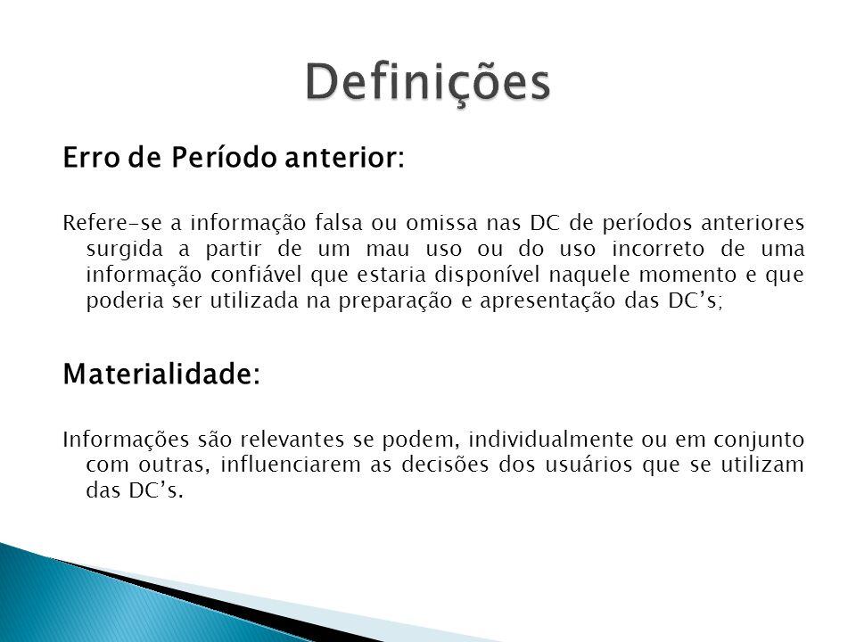 Erro de Período anterior: Refere-se a informação falsa ou omissa nas DC de períodos anteriores surgida a partir de um mau uso ou do uso incorreto de u
