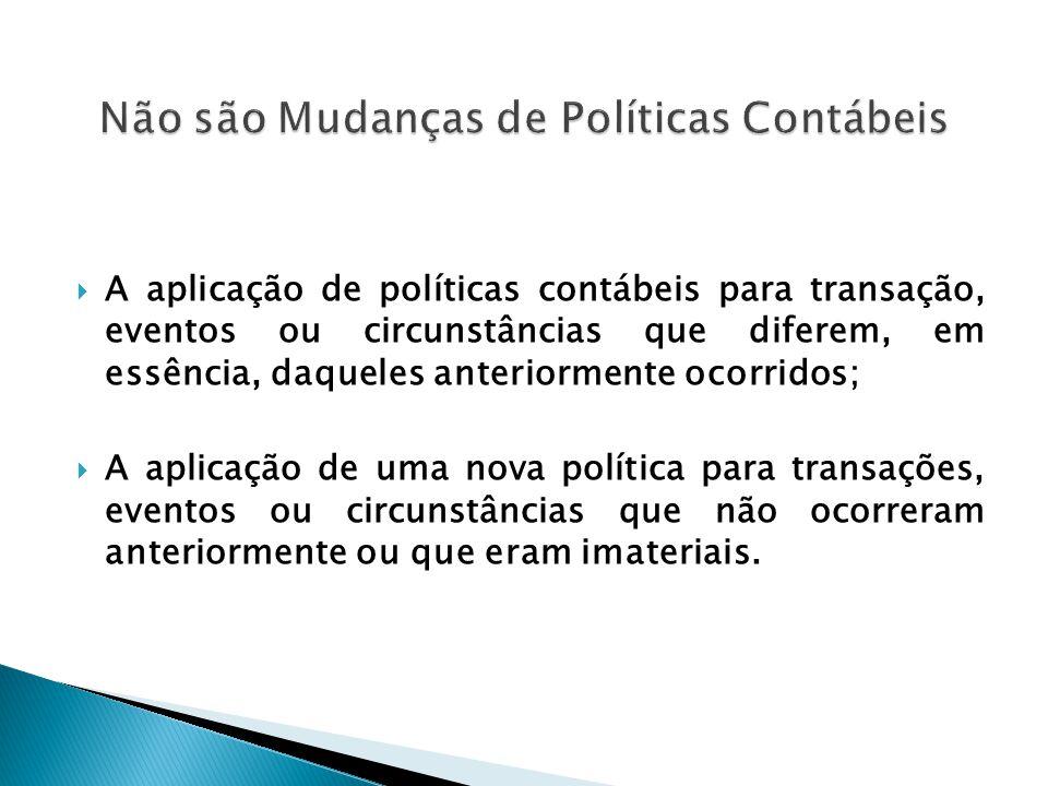  A aplicação de políticas contábeis para transação, eventos ou circunstâncias que diferem, em essência, daqueles anteriormente ocorridos;  A aplicaç