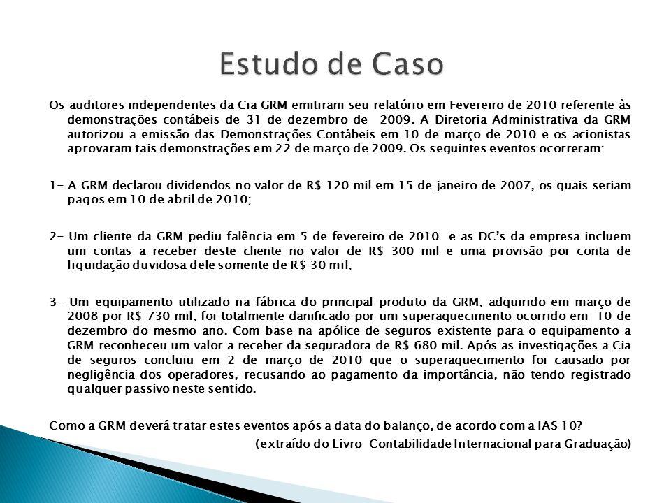 Os auditores independentes da Cia GRM emitiram seu relatório em Fevereiro de 2010 referente às demonstrações contábeis de 31 de dezembro de 2009. A Di