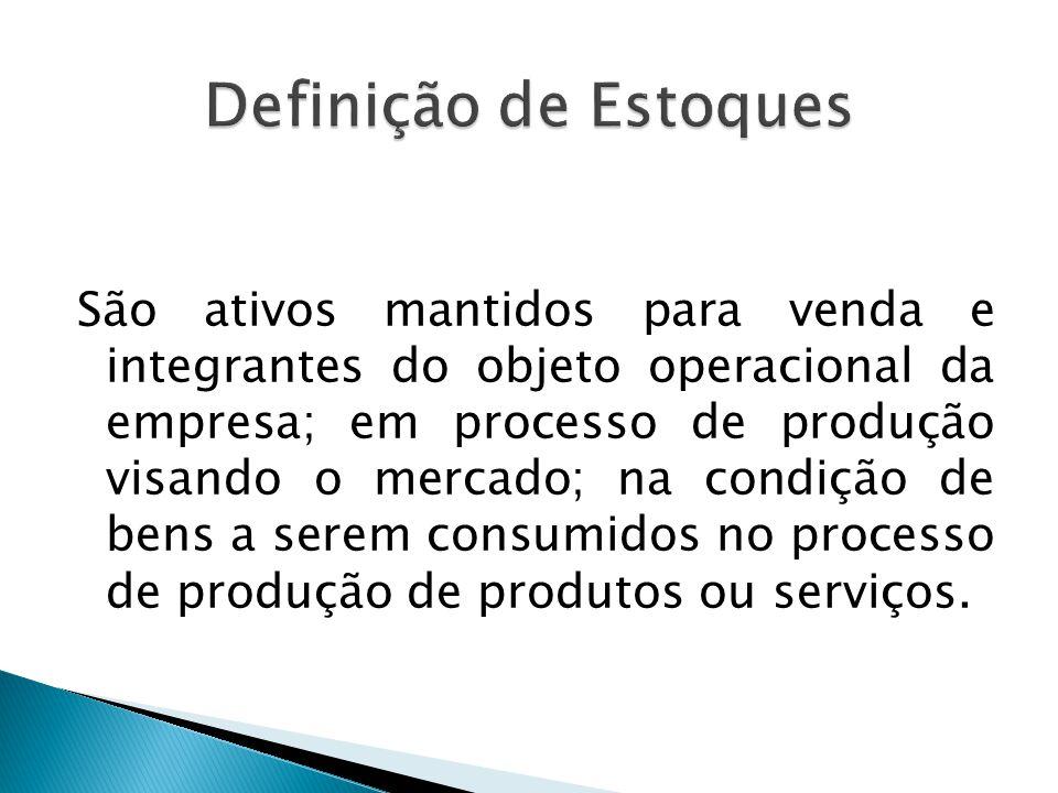 São ativos mantidos para venda e integrantes do objeto operacional da empresa; em processo de produção visando o mercado; na condição de bens a serem
