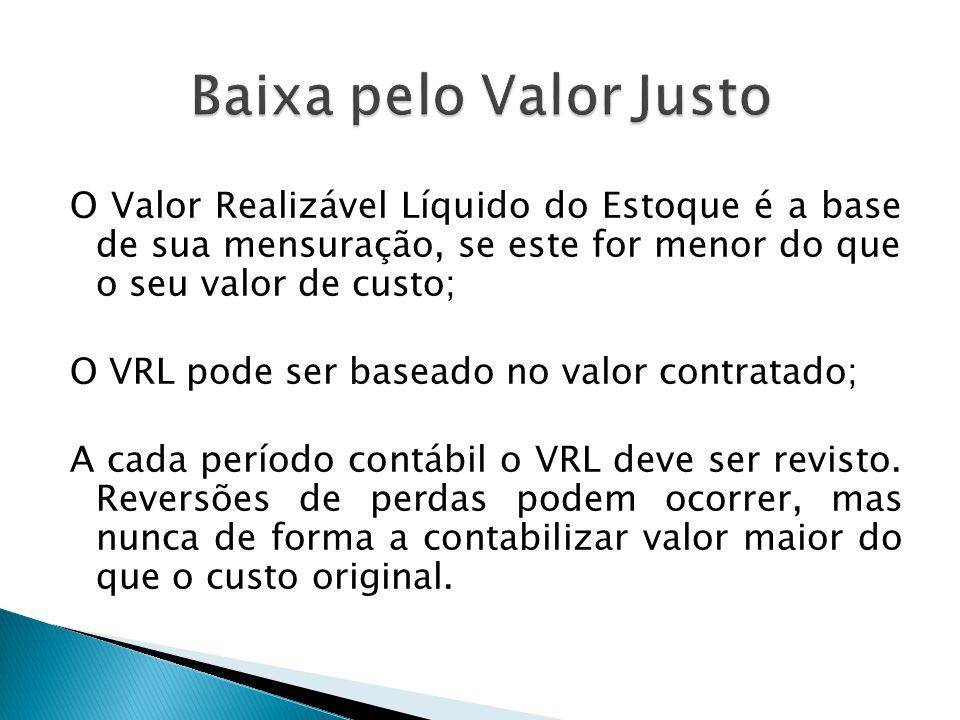 O Valor Realizável Líquido do Estoque é a base de sua mensuração, se este for menor do que o seu valor de custo; O VRL pode ser baseado no valor contr