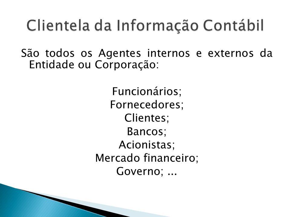 São todos os Agentes internos e externos da Entidade ou Corporação: Funcionários; Fornecedores; Clientes; Bancos; Acionistas; Mercado financeiro; Gove
