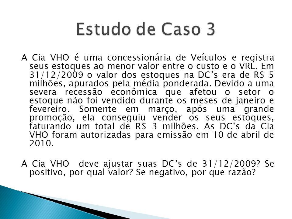 A Cia VHO é uma concessionária de Veículos e registra seus estoques ao menor valor entre o custo e o VRL. Em 31/12/2009 o valor dos estoques na DC's e