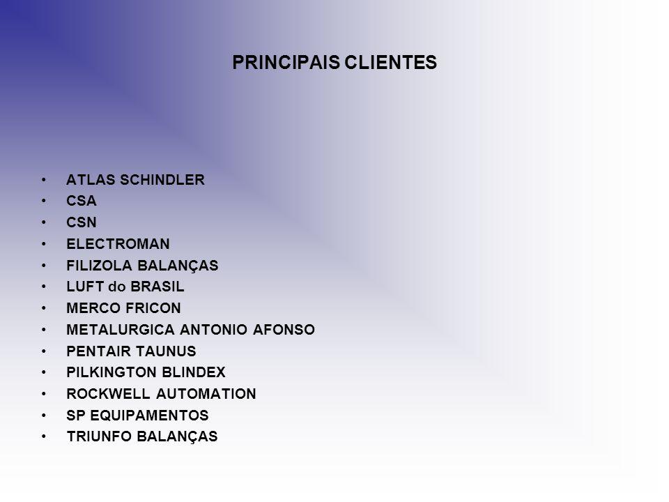 PRINCIPAIS CLIENTES ATLAS SCHINDLER CSA CSN ELECTROMAN FILIZOLA BALANÇAS LUFT do BRASIL MERCO FRICON METALURGICA ANTONIO AFONSO PENTAIR TAUNUS PILKING