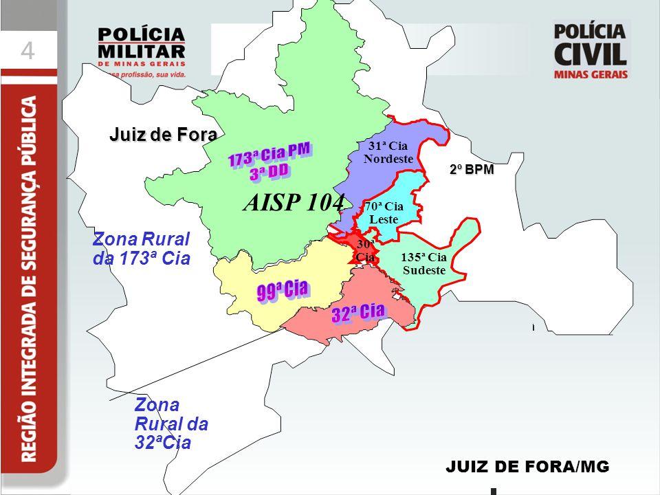 44 Juiz de Fora JUIZ DE FORA/MG 2º BPM 135ª Cia Sudeste 70ª Cia Leste 31ª Cia Nordeste 30ª Cia AISP 104 Zona Rural da 173ª Cia Zona Rural da 32ªCia
