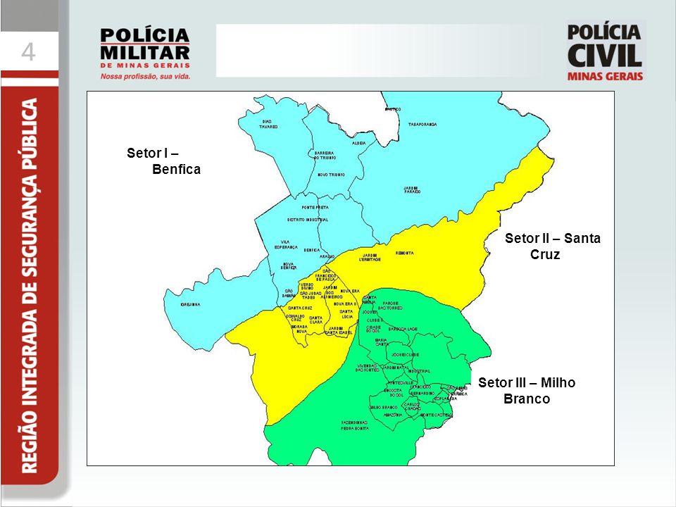 44 Colocar mapa dos setores Setor I – Benfica Setor II – Santa Cruz Setor III – Milho Branco