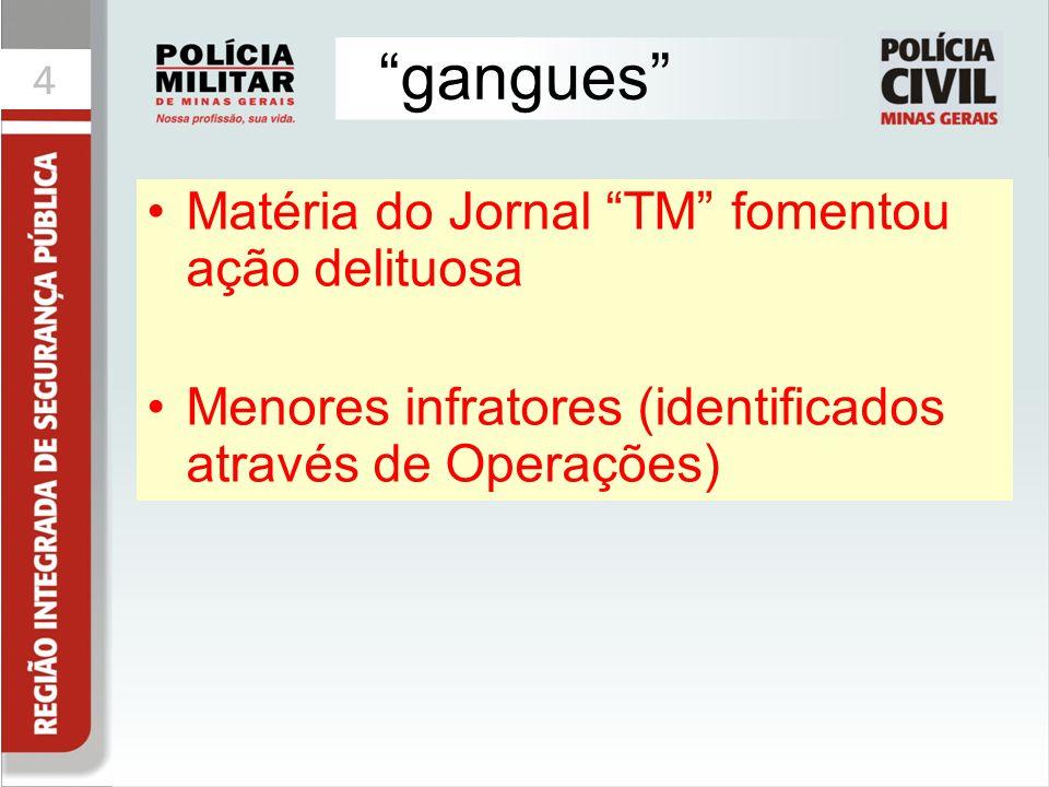 """4 """"gangues"""" Matéria do Jornal """"TM"""" fomentou ação delituosa Menores infratores (identificados através de Operações)"""