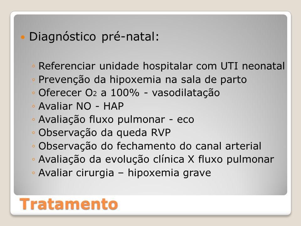Tratamento Diagnóstico pré-natal: ◦Referenciar unidade hospitalar com UTI neonatal ◦Prevenção da hipoxemia na sala de parto ◦Oferecer O 2 a 100% - vas