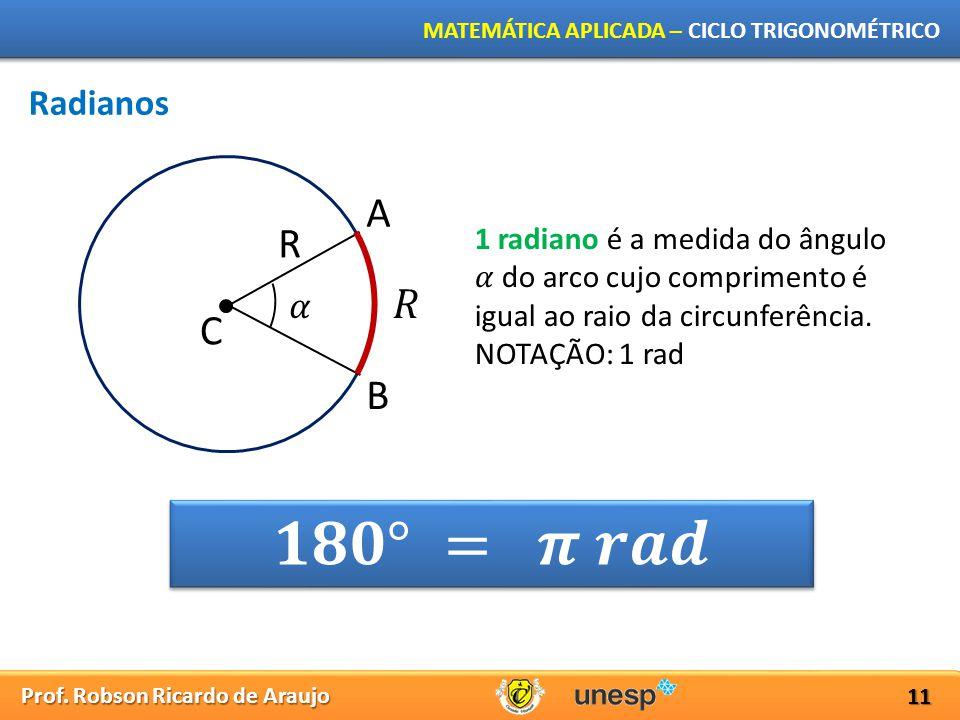 Prof. Robson Ricardo de Araujo MATEMÁTICA APLICADA – CICLO TRIGONOMÉTRICO 11 Radianos R C A B