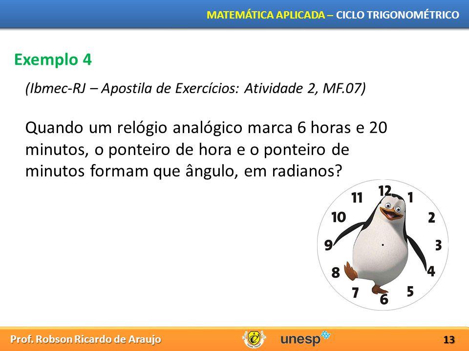 Prof. Robson Ricardo de Araujo MATEMÁTICA APLICADA – CICLO TRIGONOMÉTRICO 13 Exemplo 4 (Ibmec-RJ – Apostila de Exercícios: Atividade 2, MF.07) Quando