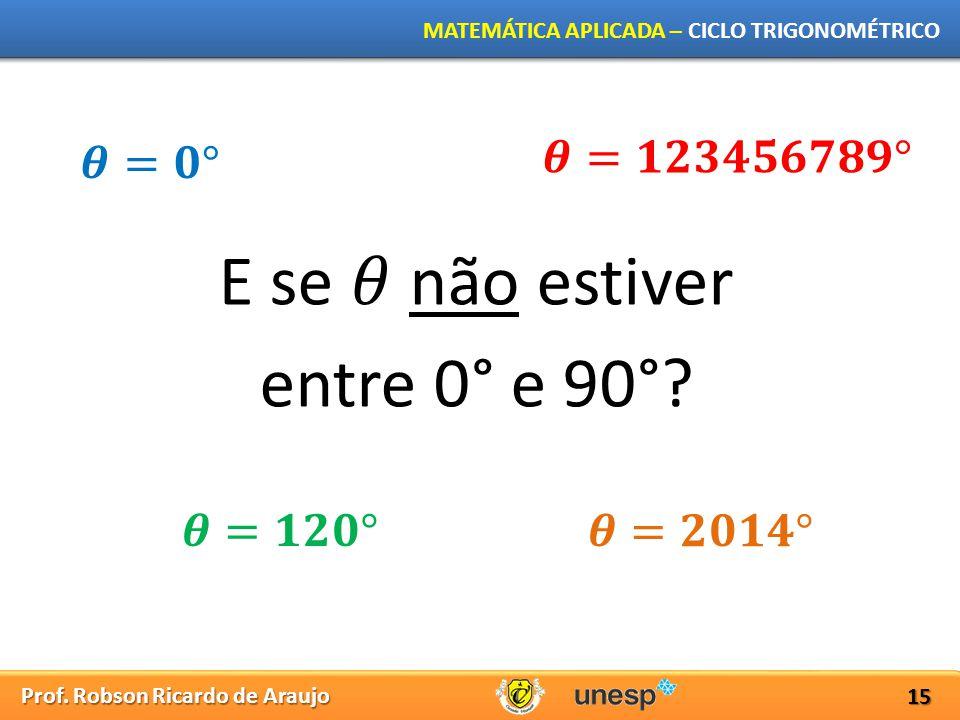 Prof. Robson Ricardo de Araujo MATEMÁTICA APLICADA – CICLO TRIGONOMÉTRICO 15