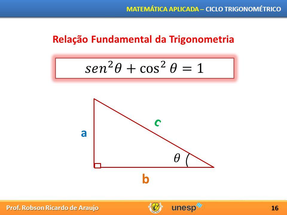 Prof. Robson Ricardo de Araujo MATEMÁTICA APLICADA – CICLO TRIGONOMÉTRICO 16 Relação Fundamental da Trigonometria a b c