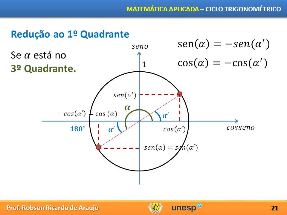 Prof. Robson Ricardo de Araujo MATEMÁTICA APLICADA – CICLO TRIGONOMÉTRICO 21 Redução ao 1º Quadrante