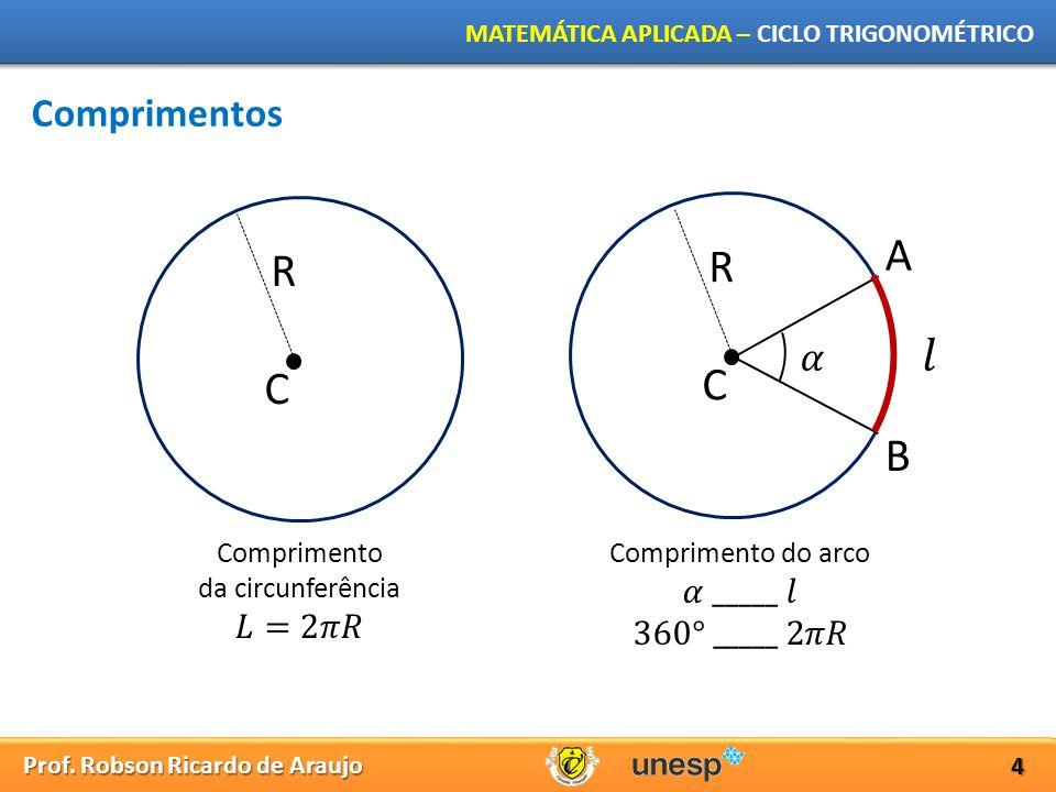 Prof. Robson Ricardo de Araujo MATEMÁTICA APLICADA – CICLO TRIGONOMÉTRICO 4 Comprimentos R C R C A B