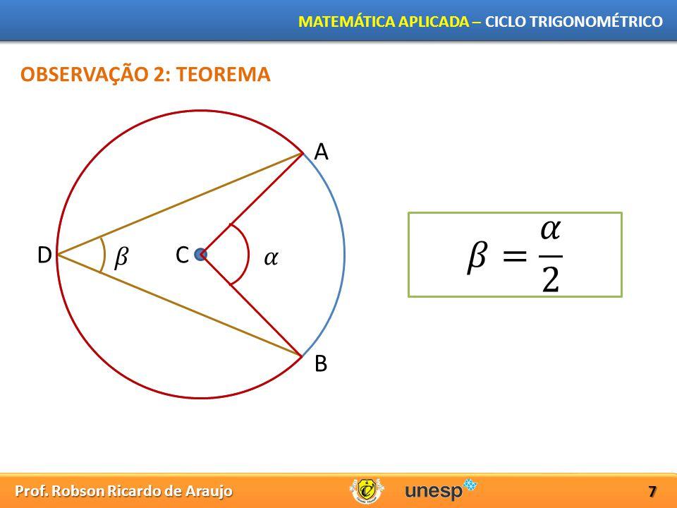Prof. Robson Ricardo de Araujo MATEMÁTICA APLICADA – CICLO TRIGONOMÉTRICO 7 A B CD OBSERVAÇÃO 2: TEOREMA
