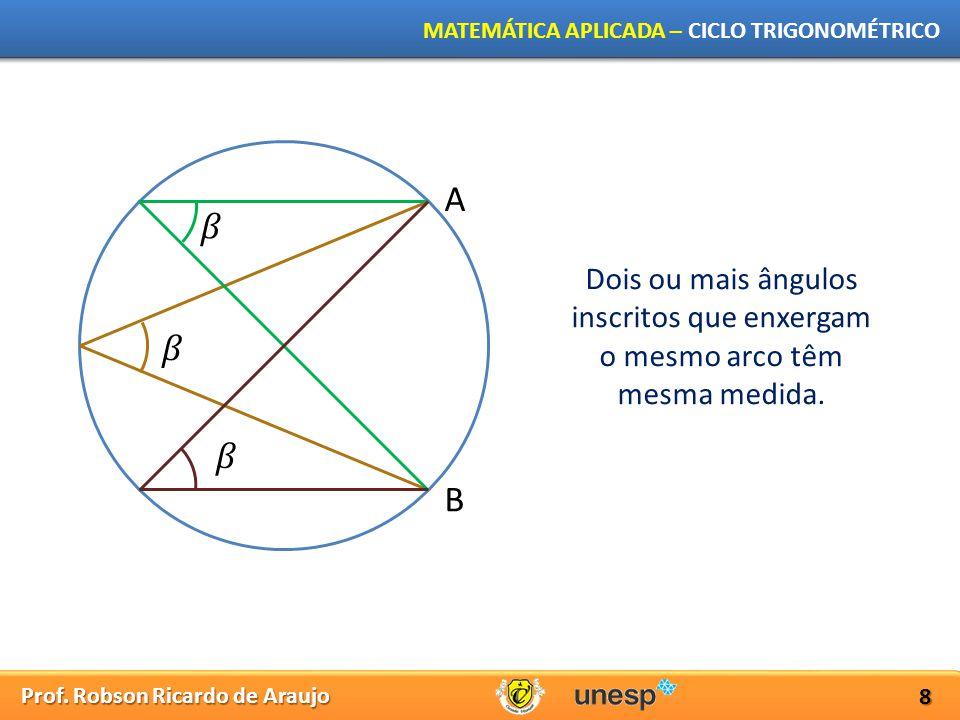 Prof. Robson Ricardo de Araujo MATEMÁTICA APLICADA – CICLO TRIGONOMÉTRICO 8 A B Dois ou mais ângulos inscritos que enxergam o mesmo arco têm mesma med