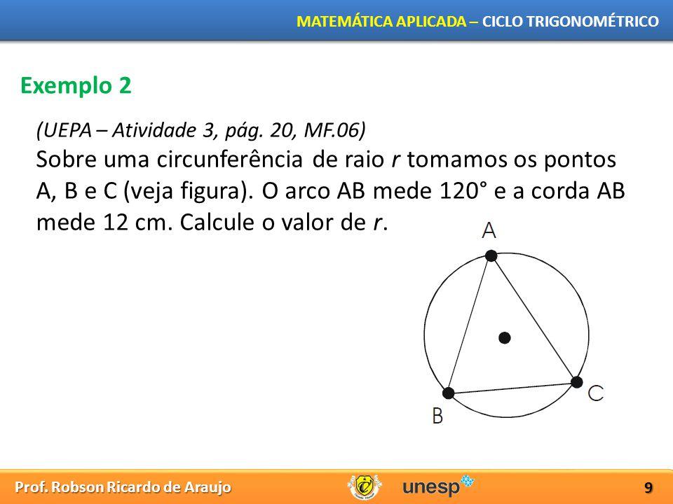 Prof. Robson Ricardo de Araujo MATEMÁTICA APLICADA – CICLO TRIGONOMÉTRICO 9 Exemplo 2 (UEPA – Atividade 3, pág. 20, MF.06) Sobre uma circunferência de