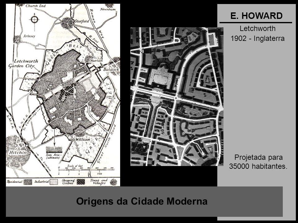Letchworth 1902 - Inglaterra Origens da Cidade Moderna E. HOWARD Projetada para 35000 habitantes.