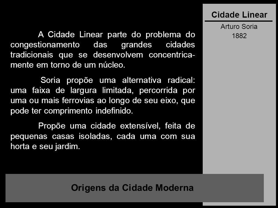 Arturo Soria 1882 Origens da Cidade Moderna Cidade Linear A Cidade Linear parte do problema do congestionamento das grandes cidades tradicionais que s