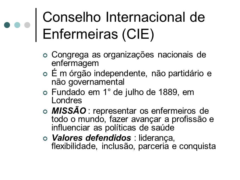 Conselho Internacional de Enfermeiras (CIE) Congrega as organizações nacionais de enfermagem É m órgão independente, não partidário e não governamenta