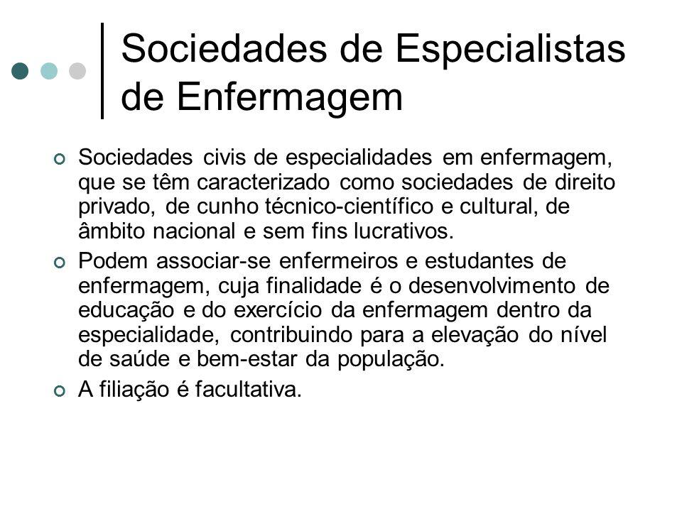Sociedades de Especialistas de Enfermagem Sociedades civis de especialidades em enfermagem, que se têm caracterizado como sociedades de direito privad