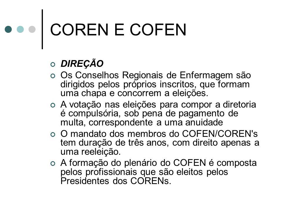 COREN E COFEN DIREÇÃO Os Conselhos Regionais de Enfermagem são dirigidos pelos próprios inscritos, que formam uma chapa e concorrem a eleições.
