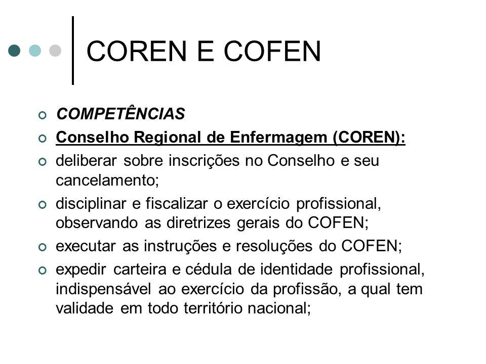 COREN E COFEN COMPETÊNCIAS Conselho Regional de Enfermagem (COREN): deliberar sobre inscrições no Conselho e seu cancelamento; disciplinar e fiscaliza