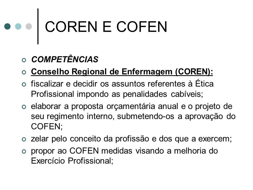 COREN E COFEN COMPETÊNCIAS Conselho Regional de Enfermagem (COREN): fiscalizar e decidir os assuntos referentes à Ética Profissional impondo as penali