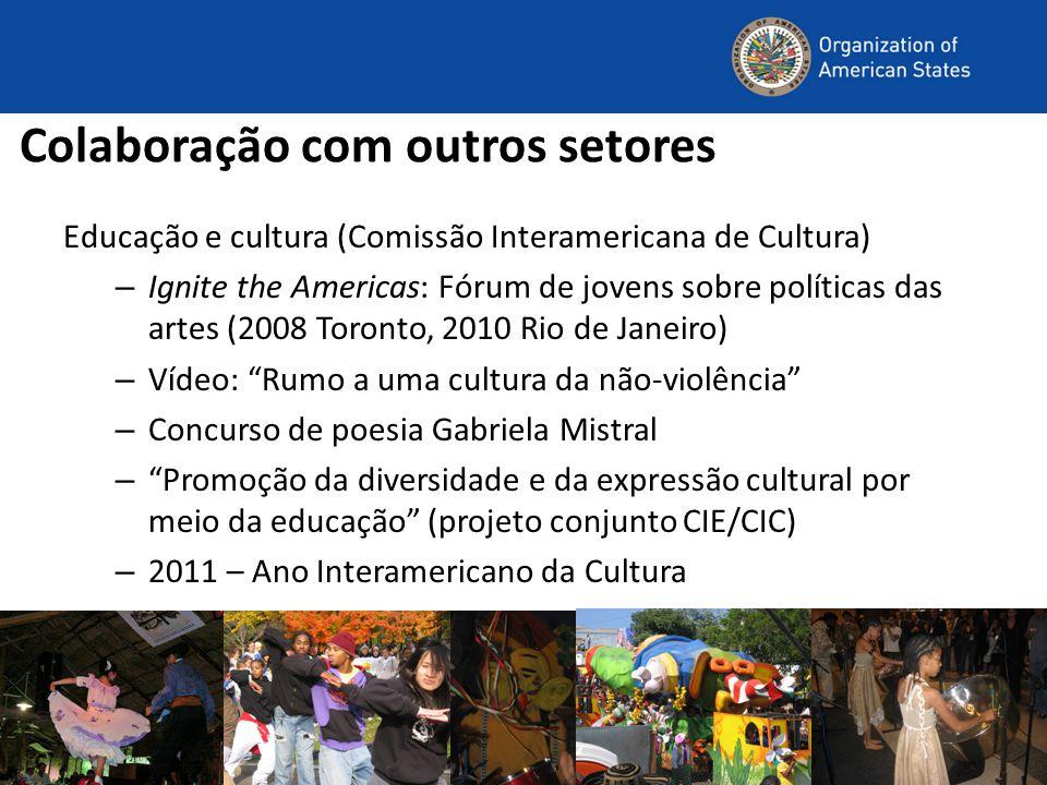 Colaboração com outros setores Educação e cultura (Comissão Interamericana de Cultura) – Ignite the Americas: Fórum de jovens sobre políticas das arte