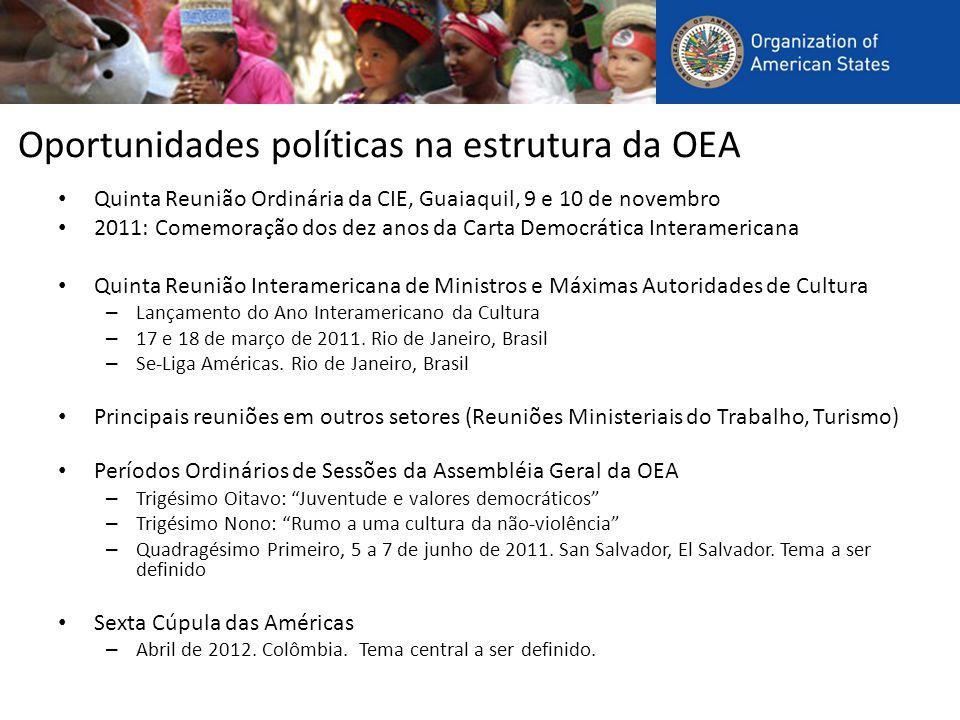 Oportunidades políticas na estrutura da OEA Quinta Reunião Ordinária da CIE, Guaiaquil, 9 e 10 de novembro 2011: Comemoração dos dez anos da Carta Democrática Interamericana Quinta Reunião Interamericana de Ministros e Máximas Autoridades de Cultura – Lançamento do Ano Interamericano da Cultura – 17 e 18 de março de 2011.
