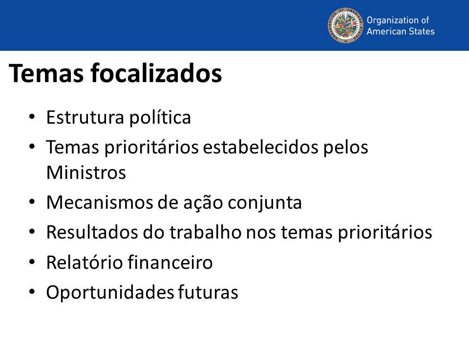 Temas focalizados Estrutura política Temas prioritários estabelecidos pelos Ministros Mecanismos de ação conjunta Resultados do trabalho nos temas prioritários Relatório financeiro Oportunidades futuras