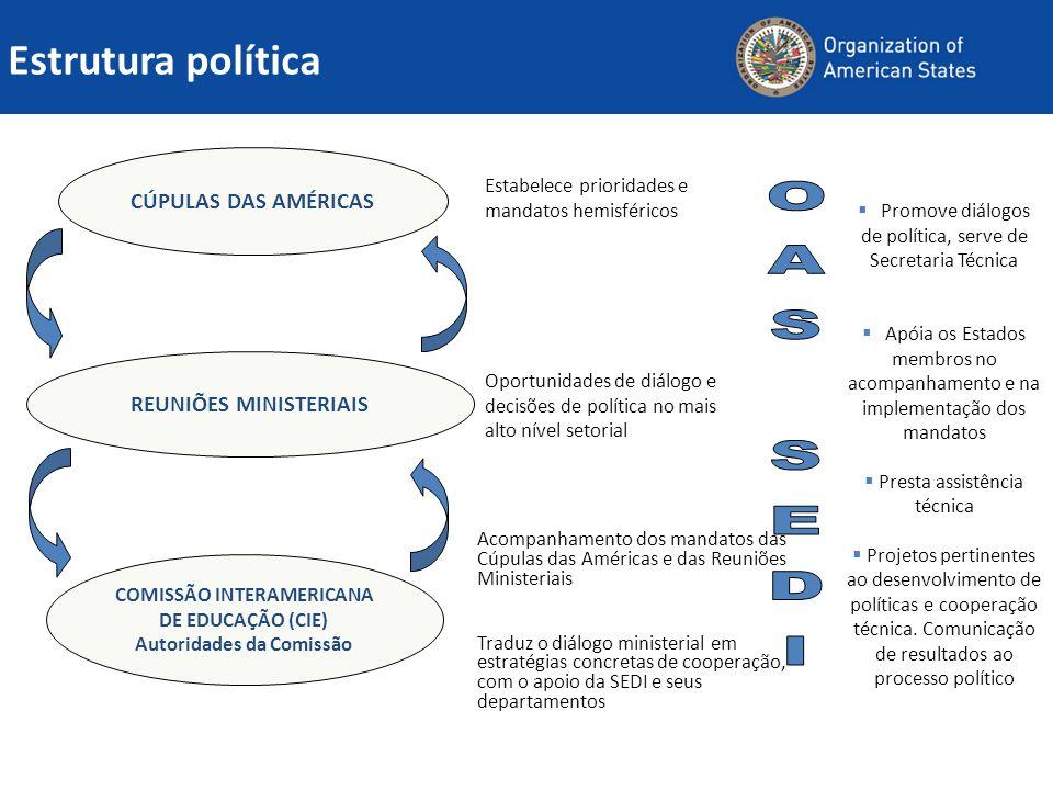 Estrutura política CÚPULAS DAS AMÉRICAS REUNIÕES MINISTERIAIS COMISSÃO INTERAMERICANA DE EDUCAÇÃO (CIE) Autoridades da Comissão Estabelece prioridades e mandatos hemisféricos Oportunidades de diálogo e decisões de política no mais alto nível setorial Acompanhamento dos mandatos das Cúpulas das Américas e das Reuniões Ministeriais Traduz o diálogo ministerial em estratégias concretas de cooperação, com o apoio da SEDI e seus departamentos  Promove diálogos de política, serve de Secretaria Técnica  Apóia os Estados membros no acompanhamento e na implementação dos mandatos  Presta assistência técnica  Projetos pertinentes ao desenvolvimento de políticas e cooperação técnica.