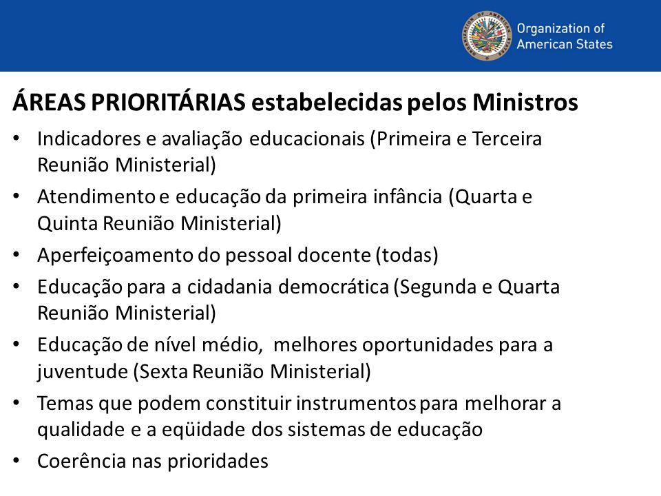 ÁREAS PRIORITÁRIAS estabelecidas pelos Ministros Indicadores e avaliação educacionais (Primeira e Terceira Reunião Ministerial) Atendimento e educação