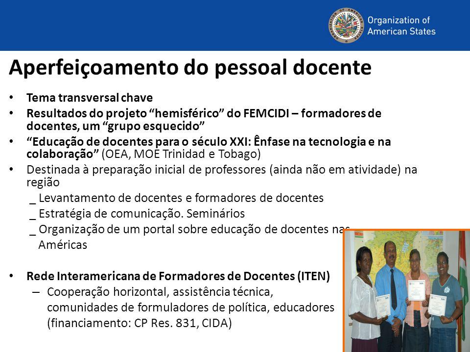 """Aperfeiçoamento do pessoal docente Tema transversal chave Resultados do projeto """"hemisférico"""" do FEMCIDI – formadores de docentes, um """"grupo esquecido"""