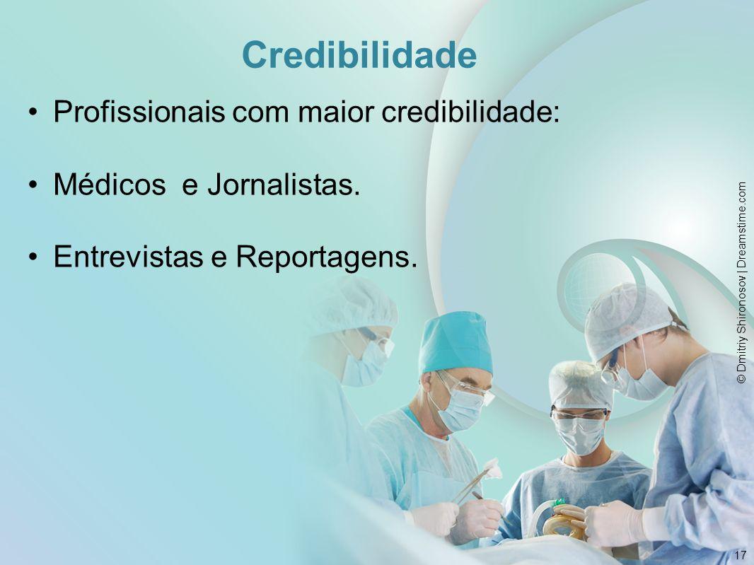Credibilidade Profissionais com maior credibilidade: Médicos e Jornalistas. Entrevistas e Reportagens. 17 © Dmitriy Shironosov | Dreamstime.com
