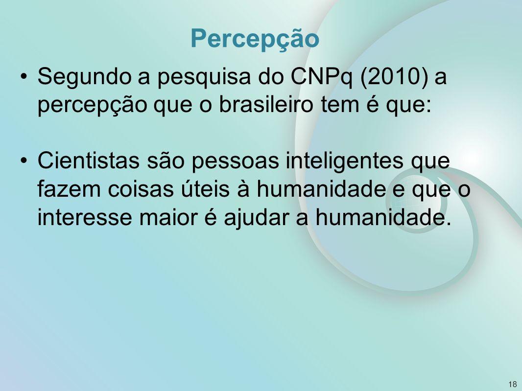 Percepção Segundo a pesquisa do CNPq (2010) a percepção que o brasileiro tem é que: Cientistas são pessoas inteligentes que fazem coisas úteis à human