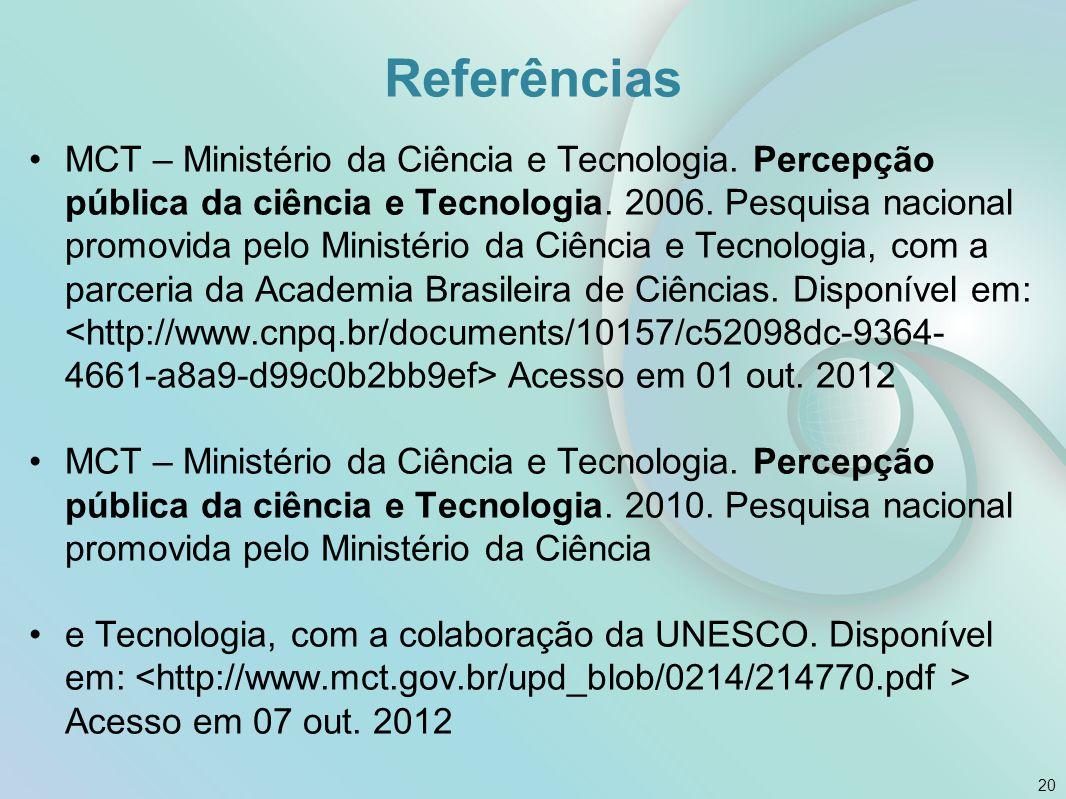 Referências MCT – Ministério da Ciência e Tecnologia. Percepção pública da ciência e Tecnologia. 2006. Pesquisa nacional promovida pelo Ministério da
