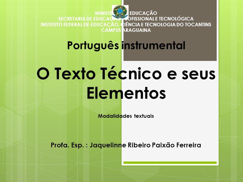 MINISTÉRIO DA EDUCAÇÃO SECRETARIA DE EDUCAÇÃO PROFISSIONAL E TECNOLÓGICA INSTITUTO FEDERAL DE EDUCAÇÃO, CIÊNCIA E TECNOLOGIA DO TOCANTINS CAMPUS ARAGU