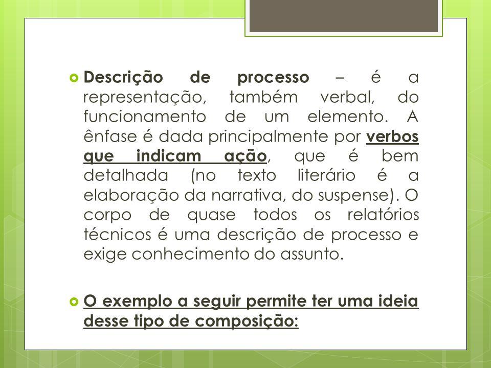  Descrição de processo – é a representação, também verbal, do funcionamento de um elemento. A ênfase é dada principalmente por verbos que indicam açã