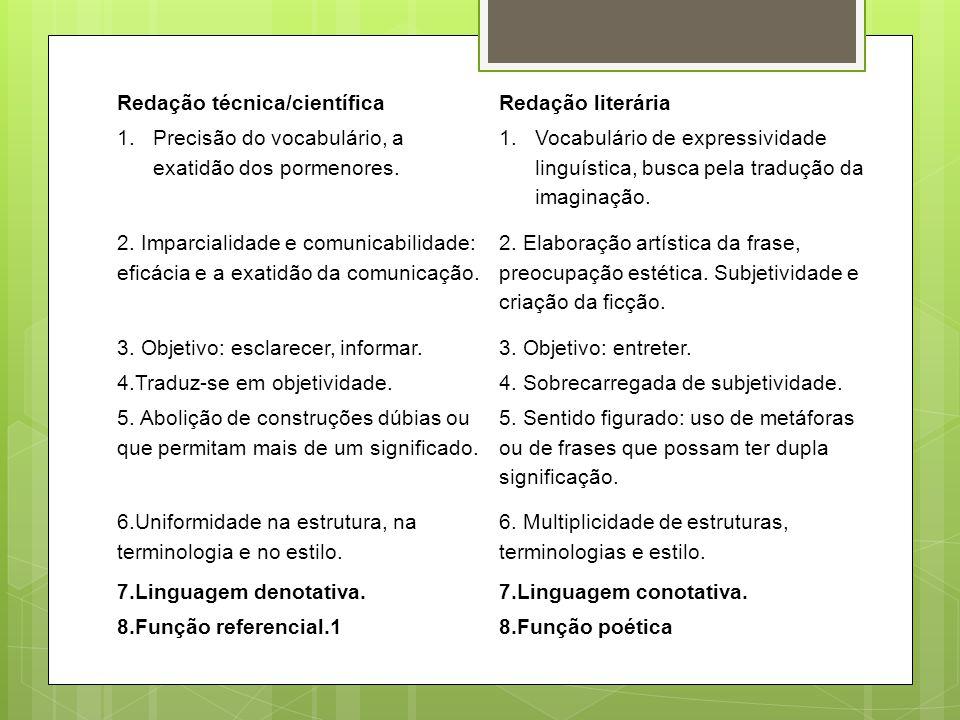 Redação técnica/científicaRedação literária 1.Precisão do vocabulário, a exatidão dos pormenores. 1.Vocabulário de expressividade linguística, busca p