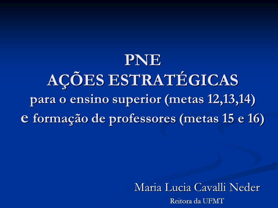 PNE AÇÕES ESTRATÉGICAS para o ensino superior (metas 12,13,14) e formação de professores (metas 15 e 16) Maria Lucia Cavalli Neder Reitora da UFMT