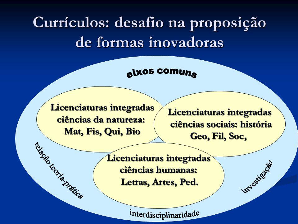 Currículos: desafio na proposição de formas inovadoras Licenciaturas integradas ciências da natureza: Mat, Fis, Qui, Bio Licenciaturas integradas ciên