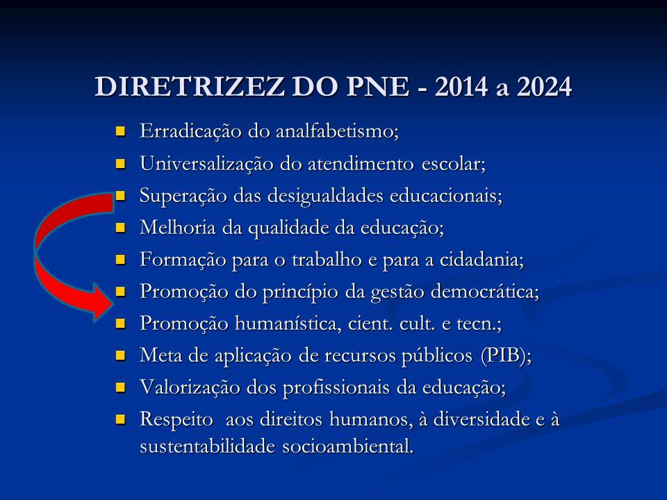 DIRETRIZEZ DO PNE - 2014 a 2024 DIRETRIZEZ DO PNE - 2014 a 2024 Erradicação do analfabetismo; Erradicação do analfabetismo; Universalização do atendim