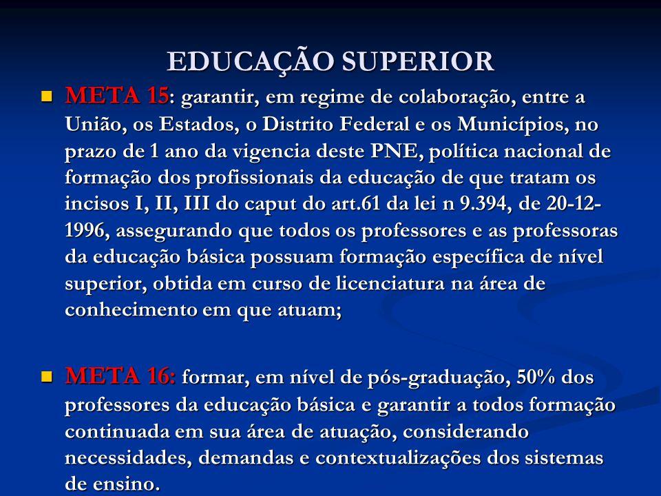 EDUCAÇÃO SUPERIOR META 15 : garantir, em regime de colaboração, entre a União, os Estados, o Distrito Federal e os Municípios, no prazo de 1 ano da vi